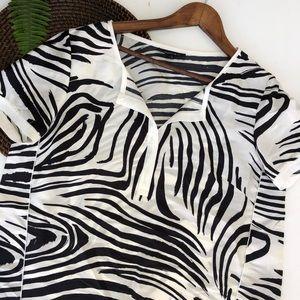 Lafayette 148 Shirt 100% Silk Black White Zebra 12